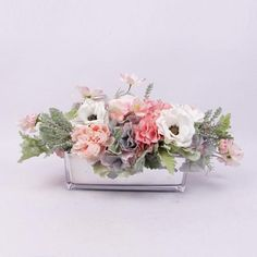 """PRODUCT Artificial Flower - HandmadeFlower Arrangement FLOWERRose, Hydrangea, Peony, Cosmos, Anemone and others DIMENSIONS & WEIGHT[Small]Whole Arrangement 16.5""""W X 7.9""""D X 7.9""""H; 3.5 lbVase 7.9""""W X 3.5""""D X 3.9""""H [Large]  Whole Arrangement 20.1""""W X 8.7""""D X 9.8""""H; 4.9 lb  Vase 11.4""""W X 3.9""""D X 3.9""""H Please note that each arrangementis hand craftedby florist, slight difference in shape and size exist between photo and act..."""