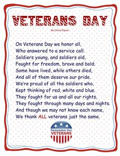 4 poems to say thanks to Veterans day 2013