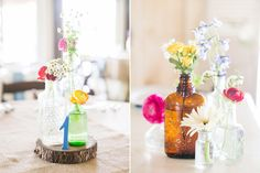 Like this idea for tables. Simple wildflowers in multicolored vases. (jenna + adam :: married :: destination wedding :: austin, texas » {a}strid photography blog)