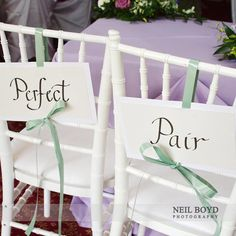 """""""Perfect Pair"""" bride & groom chair signs"""