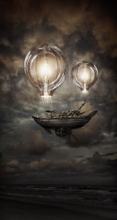 Airship hovering on light balloons, steampunk inspiration