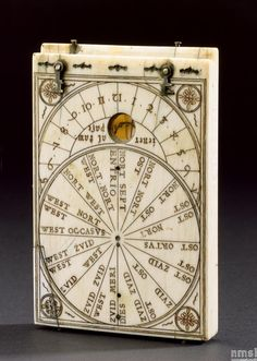 Ivory tablet compass sundial. Diptych sundial. Made by Hans Ducher in Germany, circa, 1574.