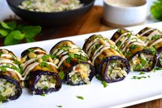 Herby Couscous Stuffed Eggplant Rolls | Every Last Bite