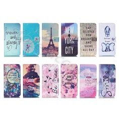 For iPhone Samsung Beauty Forever Synthetic Leather Stand Card Wallet Case Cover