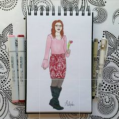 Pleione bell sleeve pink top and Gilli Jasmine Pencil Skirt from Stitch Fix done in Copic Markers and Uniball Signo Pen by Alexa's Illustrations. alexasillustrations