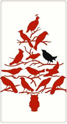 Christmas Tree Birds 100% Cotton Flour Sack Dish Towel Tea Towel