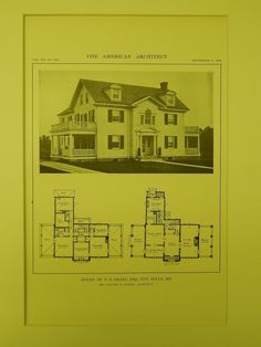 A Beautifully Detailed, Original Lithograph of the House of P. E. Graff, Esq. in Ten Hills, Maryland. EARLY PHOTOGRAPH. Walter M. Gieske, Architect. From the American Architect, September 9, 1914. Thi