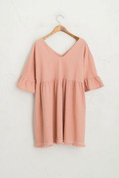Frill Sleeve Tassel Edge Dress, Pink