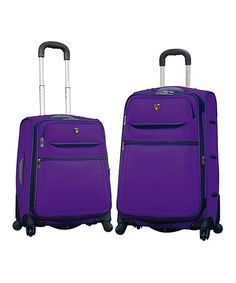 Take a look at this Purple Expandable Wheeled Luggage Set by Travelers Club Luggage on #zulily today!