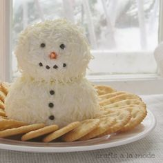 Snowman cheese ball was a huge hit at my grandchildren's Winter ONEderland…