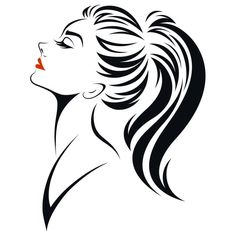 Designs Discover Vetor stock de Illustration Women Ponytail Hair Style Icon (livre de direitos) 598785098 illustration of women ponytail hair style icon logo women face on white background vector Music Drawings, Pencil Art Drawings, Art Drawings Sketches, Cool Drawings, Batman Drawing, Line Art Vector, Butterfly Drawing, Black And White Painting, Silhouette Art