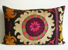 Sukan / Vintage Hand Embroidered Silk Suzani Pillow Cover - 16x25 inch - Egg Yellow Purple Pink Beige Green Dirty Black
