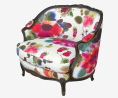 Watercolor like floral fabric print, vintage furniture for retro decor