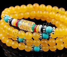 gelbe Jade Buddhistische Perlen Armband, mit Türkis & Glas & Harz & Messing, rund, Platinfarbe platiniert, buddhistischer Schmuck & om mani ...