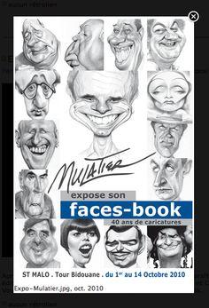Mulatier expose son faces-book  40 ans de caricatures