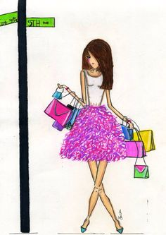A day on 5th Ave fashion Illustration! By Melsy's Illustrations ! Great for a gift!