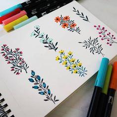 Brush Pen Art, Watercolor Brush Pen, Watercolor Flowers, Watercolor Paintings, Leaves Doodle, Black Paper Drawing, Floral Doodle, Doodle Art Designs, Flower Doodles