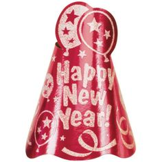 New Years Red Glitter Foil Cone Hat 9in