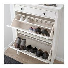 "BRUSALI Shoe cabinet with 3 compartments, white - 24x51 1/8 "" - IKEA"