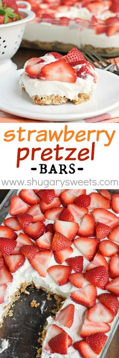 <Strawberry Pretzel Bars: these no bake sweet and salty cheesecake bars are the p. Strawberry Pretzel Bars: these no bake sweet and salty cheesecake bars are the perfect recipe for dessert! Strawberry Pretzel, Strawberry Desserts, Köstliche Desserts, Dessert Drinks, Best Dessert Recipes, Dessert Bars, Sweet Recipes, Strawberry Cheesecake, Dessert Simple