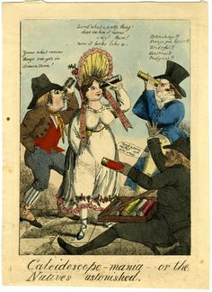 Social satire: a street seller with a tray of kaleidoscopes, with three customers (a gentleman, lady and countryman) trying them out.  c.1818  Etching with hand-colouring
