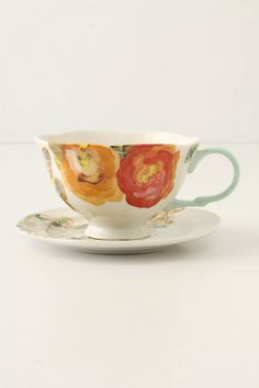 Hers { Watercolor Petals Cup & Saucer from Anthropologie [$18] }