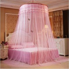 [Canony Bed DIY Ideas] Mosquito Luxury Princess Bed Net Canopy Round Hoop Netting Mosquito Net Bedroom Decor (Dome Nets, Pink) -- You can find more details by visiting the image link. Bed Net Canopy, Canopy Bed Curtains, Kids Bed Canopy, Baby Canopy, Bed Valance, Girls Bedroom, Girl Bedroom Designs, Luxury Bedroom Furniture, Bedroom Decor