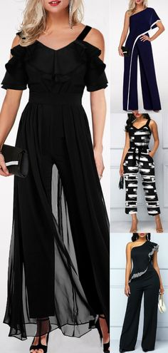 Jumpsuits are in trend this season. Women can rock this look effortlessly with these 4 jumpsuit outfit ideas! Jumpsuit Outfit, Dress Outfits, Fashion Dresses, Pretty Outfits, Cool Outfits, Casual Outfits, Looks Party, Evening Outfits, Night Outfits