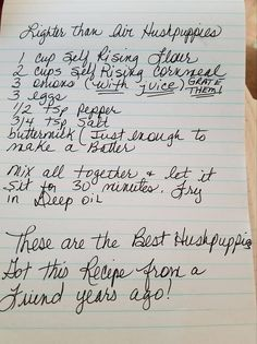 Lighter Than Air Hush Puppies Old Recipes, Vintage Recipes, Fish Recipes, Seafood Recipes, Appetizer Recipes, Bread Recipes, Appetizers, Cooking Recipes, Recipies