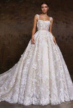 """Crystal Design 2018 Wedding Dresses — """"Royal Garden"""" & Haute Couture Bridal Collections crystal design 2018 sleeveless lace strap straight across full embellishment ball gown wedding dress royal train (hloya) mv — Crystal Design 2018 Wedding Dresses Crystal Wedding Dresses, Dream Wedding Dresses, Designer Wedding Dresses, Bridal Dresses, Lace Wedding, Wedding White, Couture Wedding Dresses, Wedding Ball Gowns, Wedding Dress Corset"""