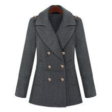 Turn-Down Collar Double-Breasted Epaulet Embellished Long Sleeves Slimming Stylish Women's Coat