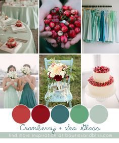 Cranberry + Sea Glass Wedding Color Inspiration // Bow Ties & Bliss (red, blue, mint, teal wedding color inspiration)