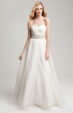 Theia Strapless Silk Chiffon Gown