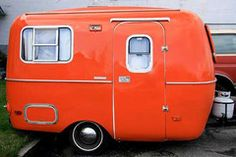Orange crush camper - oh to go travel ;)