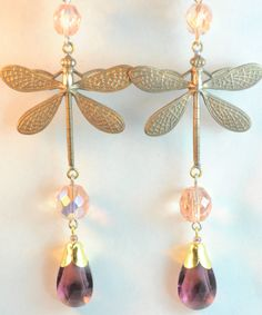 Vintage Raw Brass Earrings Czech Art Nouveau Dragonfly Purple Glass Handmade #handmade #DropDangle