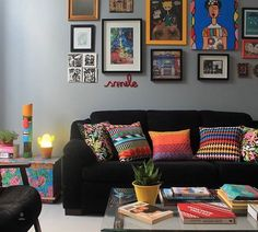 How do you feel about this? But with brighter colors? Colourful Living Room, Funky Living Rooms, Living Room Designs, Living Room Decor, Home Decoracion, Home Decor Furniture, Colorful Decor, House Colors, Boho Decor