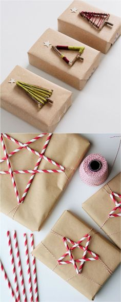 16 Favorite Easy Gift Wrapping Ideas (Many are Free!) 16 Favorite Easy Gift Wrapping Ideas (Many are Free! DIY 16 inspiring gift wrapping hacks on how to make instant gift bags and beautiful gift. Christmas Gift Wrapping, Diy Christmas Gifts, Holiday Crafts, Xmas, Christmas Ideas, Christmas Stars, Noel Gifts, Holiday Bags, Santa Gifts