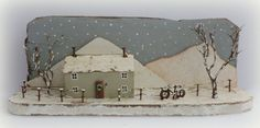 Kristy Elson, a beautiful little winter scene painted on a shelf. This is so sweet.