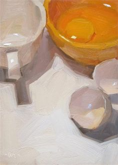 "Daily+Paintworks+-+""Egg+on+the+Edge""+-+Original+Fine+Art+for+Sale+-+©+Carol+Marine"