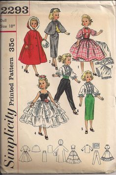 Everything to need to create a wardrobe for any 18 doll:    31 pieces UNCUT    Dress  Blouse, Skirt and Cape  Hooded Coat and Muff  Ruffled Skirt  Fancy Ruffled Skirt Dress  Blouse and Skirt  Tuxedo Pants and Cummerbund  and for underneath it all...    Petticoat and Panties Waist size is 7