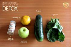 Desayuno Detox - 1 manzana - 1 pepino - 4 hojas de espinacca - 1 naranja - Kión o Jengibre al gusto  Licúalas y disfruta!