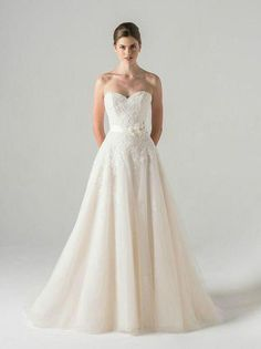 Anne Barge strapless lace wedding dress with sweetheart neckline