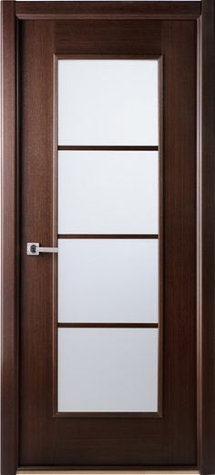Modern-Lux-Wenge African Wenge Interior Single Door FrostedSKU# Modern-Lux-Wenge Interior Prehung Slab Tempered GlassSingle Glazed Italian Wenge Wood 4 Lite Panel Modern Contemporary The Mia comes in a natural Italian wenge wood veneer in horizontal direction decorated with 4 silver strips and frosted glass. All doors are coated with natural wood veneer, which require no further treatment of the slab.
