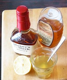 Bourbon Cough Syrup for Grownups...works best if you warm it on the stove, about 1 ounce of whiskey or bourbon, 1 ounce of honey, 1 ounce of lemon juice.  do not boil, just heat until mixes well together.  Pour in a glass, and drink while still warm (not HOT!!!).  This is an awesome cold remedy or sore throat fix.  Can repeat every 6 hours if needed. (DO NOT DRIVE!)