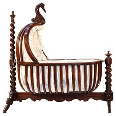French early century rocking cradle is absolutely gorgeous and in mint condition. It is made of solid mahogany wood, overcome a beautiful stork head. Wonderful detail work and superb craftsmanship. Old World Furniture, Baby Furniture, Handmade Furniture, Unique Furniture, Children Furniture, French Furniture, Baby Cradle Plans, Baby Cradle Wooden, Muebles Estilo Art Nouveau