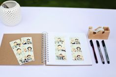 Guest book with photo strips!  {Hannah from glitter & garland shares her wedding day} glitterandgarland.com   Photo: Colleen Kerns- http://www.colleenameliaphotography.com