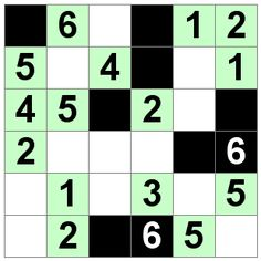 Number Logic Puzzles: 20953 - Str8ts size 6