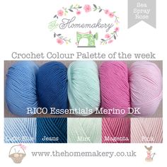 Crochet Colour Palette: Sea Spray Rose featuring Rico Essential Merino DK - The Homemakery Blog