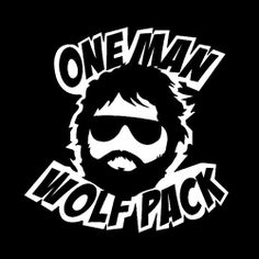 One man wolf pack print. Material to be used: Vinyl Sticker; Available on black, white & blue shirt only. Cool Tees, Cool T Shirts, Funny Shirts, Tee Shirts, One Man Wolf Pack, Funny Outfits, Funny Clothes, Movie Memes, Graphic Shirts
