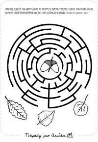 Bludiště žaludy School Daze, Worksheets, Symbols, Letters, Labyrinths, Puzzles, October, Fall, Autumn